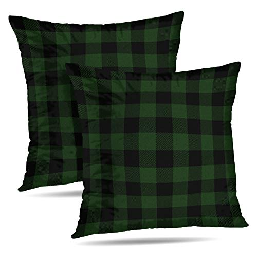 (Darkchocl Set of 2 Daily Decoration Throw Pillow Covers Green Buffalo Plaid Plaid Green Square Pillowcase Cushion for Couch Sofa or Bed Modern Quality Design Cotton and Polyester 18