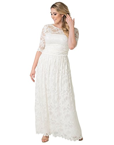 Bridal Gowns Alfred Angelo - Kiyonna Women's Plus Size Lace Illusion Wedding Gown 5X Ivory