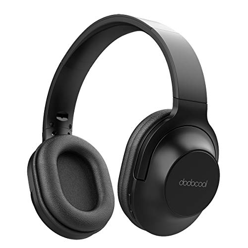 Bluetooth Headphones Over Ear, dodocool Hi-Fi Stereo Wireless Headset, Comfortable Memory-Protein Earpads, Foldable Headset w/Built-in Mic Wired Mode PC/Cell Phones, Black (Black A) (Black A)