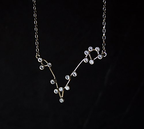 PISCES Constellation necklace - sterling silver and synthetic blue aquamarine - READY to SHIP by vdeux