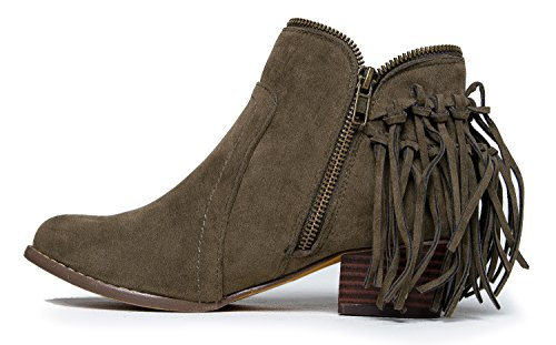 Cowboy Closed Bootie Bailey J Suede Adams Heel Low Olive Ankle Toe Fringe Boot Western 1TBWwq6