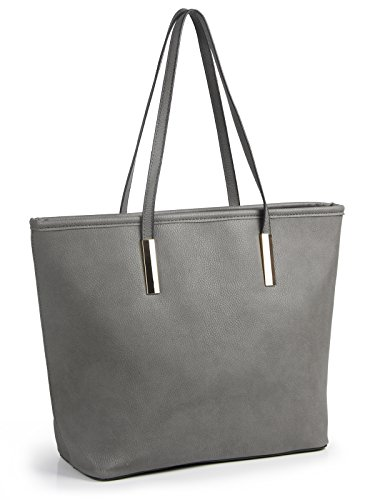 Simple Solid Color Pu Leather Top Handle Satchel Handbags for Women Shoulder Bags (Grey) -