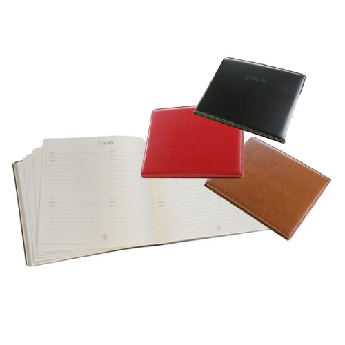 Leather Padded Guest Book, Black