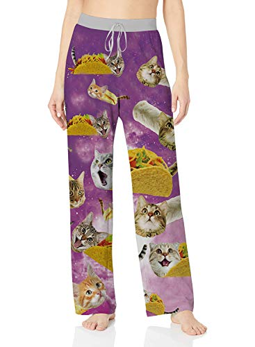 ALISISTER Cat Lounge Pants for Women Palazzo Lounge Pants Novelty Pajama Bottoms Long Sleepwear Wide Leg Home Clothing with Elastic Drawstring M
