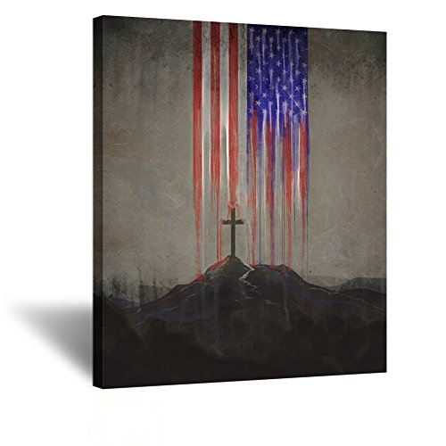 Kreative Arts Modern Canvas Prints Wall Art Christian Cross Vintage Poster Contemporary Paitning Stretched Gallery Canvas Wrap Giclee Print Ready to Hang for Home Decor 20x24inch