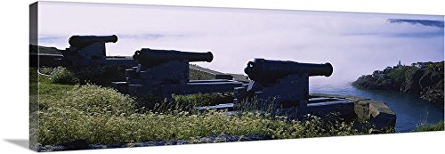 Canvas on Demand Premium Thick-Wrap Canvas Wall Art Print entitled High Angle View Of Three Cannons In A Fort, Signal Hill, Fort Amherst Lighthouse, Saint Johns, Newfoundland And Labrador, Canada