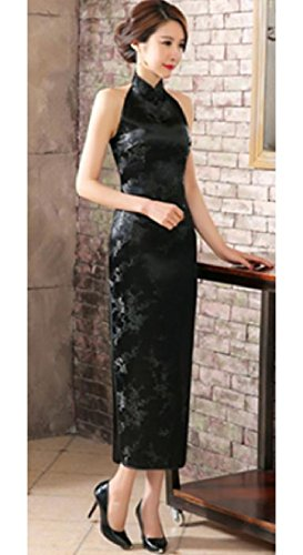 Lungo Parziali Coolred Cheongsam Sleeveless donne Annata Abito Silm Forma 10 Sexy In nnqIxCpS7