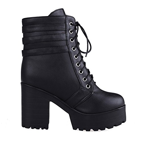 High Toe Closed Women's Black Top Low AmoonyFashion Round Heels Boots Solid PU OqYRWpt