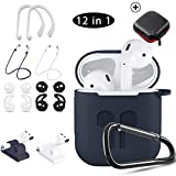 Airpods Case Blue,HOOXIN Airpods Accessories Set,12 in 1 Protective Silicone Cover and Skin for Apple Airpods Charging Case with Airpods Ear Hook Grips/Airpods Staps/Airpods Clips/Skin/Tips/Grips