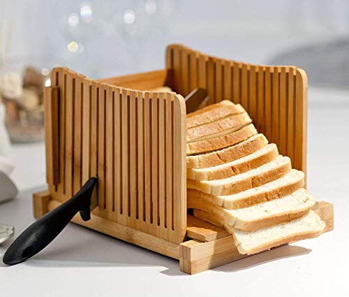 Homemade Bread Loaf Slicer - Bamboo Wood Cutter Box with Knife Slicing Guide & Cutting Board - Adjustable Slice Size Thin Thick 1/3' 3/8' 1/2' - Foldable Manual Bread Slicer Perfect for Bread Machine