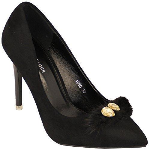 Pour 19201 Femmes Daim Talon Aiguille À New Enfiler Bout Femmes Chaussures Bout Pointu Collier De Fleurs New Noir - 1656 b8dfac7 - conorscully.space