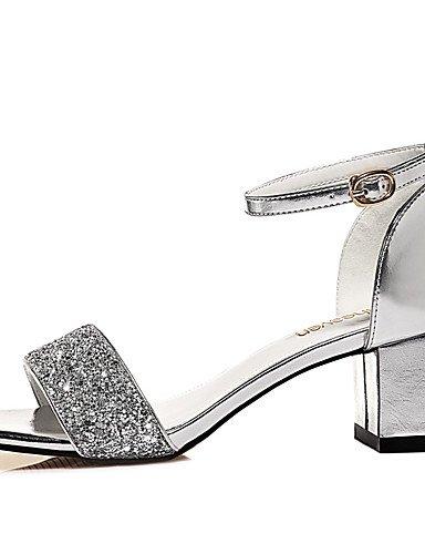 LFNLYX Zapatos de mujer-Tacón Robusto-Punta Abierta-Sandalias-Boda / Oficina y Trabajo / Vestido / Casual / Fiesta y Noche-Sintético-Plata / Oro golden