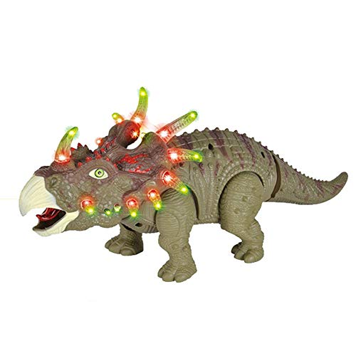Gbell Smart Walking Triceratops Dinosaur with Lights & Sounds Real Movement Electronic Dino Toys for Kids Boys Girls 3-12 Year Olds Toy (A)