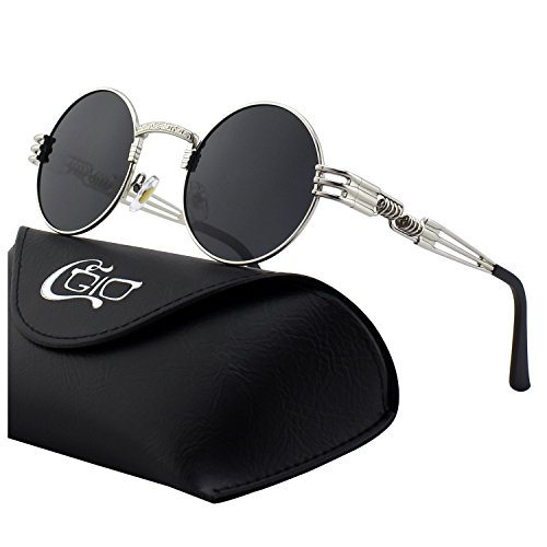 CGID E73 Retro Steampunk Style Inspired Round Metal Circle Polarized Sunglasses for Women ()