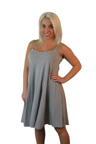 Fashions Damen, ärmellos, Viskose, Jersey Swing Dress XXL (= 20/22 (DE)), Grau
