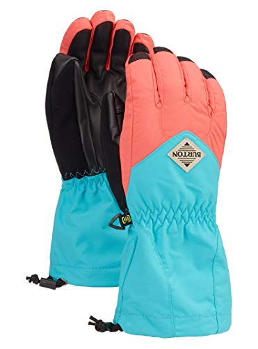 - Burton Kids' Insulated, Warm and Waterproof Profile Gloves with Touchscreen, Georgia Peach/Blue Curaçao, X-Small