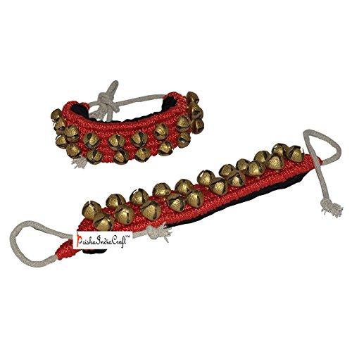 Prisha India Craft ® Kathak Ghungroo (16 No. Ghungroo) (2) Two Line Big Dancing Bells Ghungroo Pair Handmade Indian Classical Dance Accessories Bharatnatyam, Kuchipudi, Odissi Ghungru Red Pad by Prisha India Craft