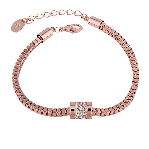 [SDLM Rose Gold Plated Stainless Steel and Created White Cubic Zirconia Stones Adjustable Bracelet] (Firefly Kids Costumes)