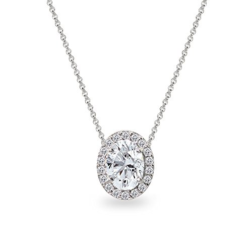 (Sterling Silver Created White Sapphire Oval Halo Slide Pendant Necklace with CZ Accents)
