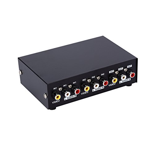AuviPal 2-Port RCA AV Switcher 2 Input 1 Output Composite Vi