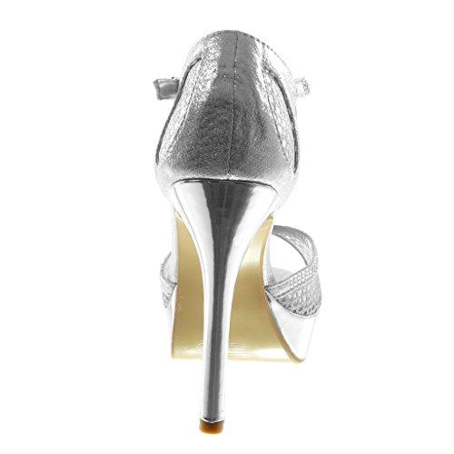 Tacón cm Stiletto 5 11 Sandalias Brillantes Tacón Fishnet Angkorly Plata Correa Moda de Mujer Aguja Strass escarpín Zapatillas Alto CtXqT