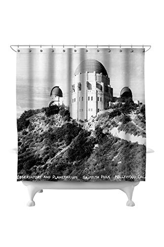 Lantern Press Hollywood, California - Griffith Park Observatory and Planetarium - Vintage Photograph 32037 (74x74 Polyester Shower ()