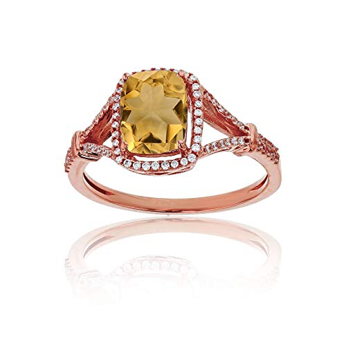 - 10K Rose Gold 0.22 CTTW Round Diamond & 8x6mm Cushion Citrine Split Shank Ring