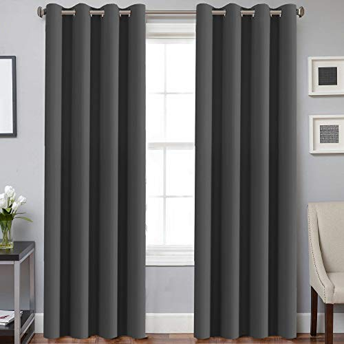 H.VERSAILTEX Three Pass Microfiber Blackout Thermal Insulated Grommet Panel Window Curtains/Drapes (Set of 2 Panels,52 x 96 Inch,Charcoal Gray)