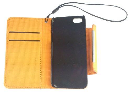 Wallet, Flip Case für iPhone SE / 5 / 5S, Weiss - Orange, Weiß, Hülle, Buch Hülle, Buchhülle, Klapptasche, Klapphülle, Handytasche, Tasche, Etui, mit Fach für Ausweis, Dokumente, Führerschein, Geld