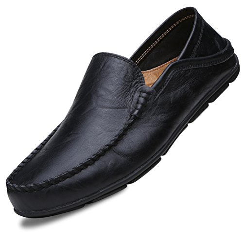 Go Tour Men's Premium Genuine Leather Casual Slip On Loafers Breathable Driving Shoes Fashion Slipper Black 47 (Handmade Loafer Shoes Italian Leather)