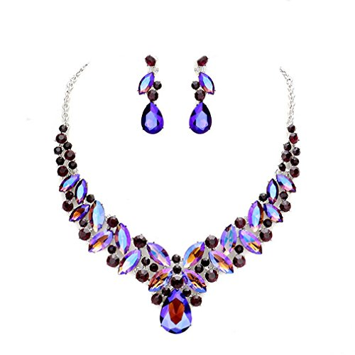 Blue Ice, Affordable Wedding Jewelry Women Elegant Ab Purple Crystal Statement Chunky Silver Necklace Jewelry Earrings set ()