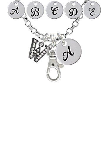 Beaded Border Black Nickeltone Crystal Initial Custom Initial Badge Clip Necklace W