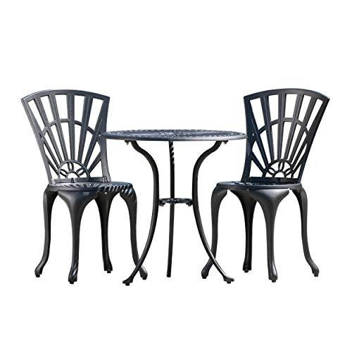 Great Deal Furniture 295808 Karsten Outdoor 3pc Sand Black Cast Aluminum Bistro Set