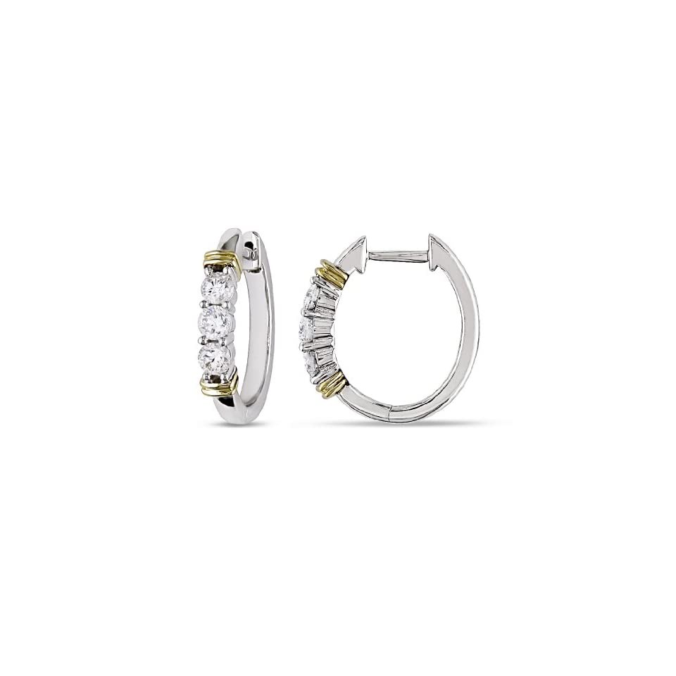 Yellow Gold, Diamond Hoop Earrings, (.5 cttw, GH Color, I1 I2 Clarity