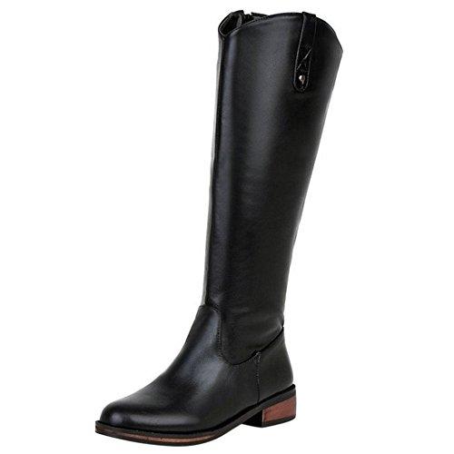 Women Black Zipper FizaiZifai Simple Boots gnw74qSd1