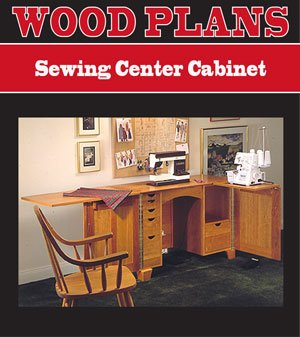 SEWING CENTER CABINET WOODWORKING PAPER PLAN PW10016