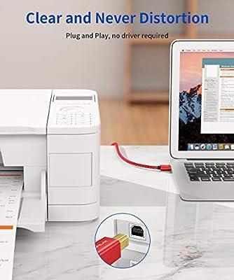 JSAUX Cable Impresora [2M] Cable Impresora USB Tipo B 2.0 Compatible para Impresora HP, Epson,Canon,Brother,Lexmark,Escáner,Disco Duro,Fotografía Digital y Otros Dispositivos-Rojo: Amazon.es: Electrónica