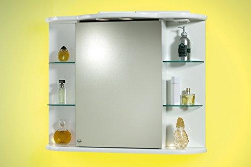 Specchio specchiera per Bagno Contenitore da 88x66hx27 Laccato Bianco con  mensole in Vetro 1 l