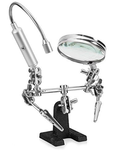 - Ram-Pro Helping Hand Magnifier Glass Stand with Flexible Neck LED Flashlight & Alligator Clips - 3x Magnifying Lens, Perfect for Soldering, Crafting & Inspecting Micro Objects (Batteries Included)