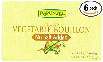 Rapunzel Pure Vegan Vegetable Bouillon, No Salt Added, 8 Cubes, 2.4 Ounce Packages (Pack Of 6) by Rapunzel