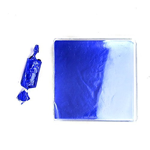 Blue Foil Candy Wrappers - Linen and Bags 250 Foil Candy Wrappers for Chocolates, Caramels, Lollipops, and Crafts (3x3, Blue)