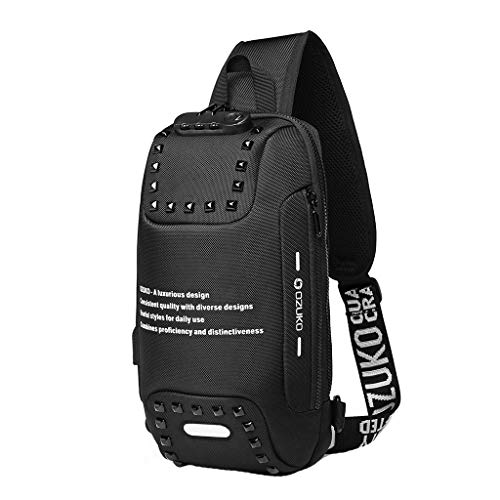 Men Anti Theft Travel Sling Bag,Crytech Fashion Letter Print Rivet Waterproof Shoulder Chest Backpack with Password Lock USB Charging Port Outdoor Casual Crossbody Daypack for Women (Black)