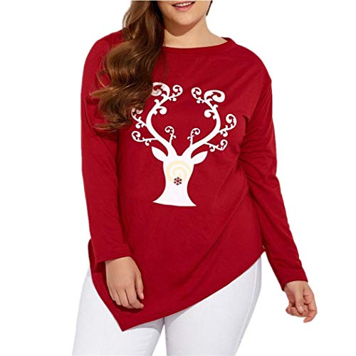 iLUGU Fashion Women Plus Size Blouse Christmas Deer Elk Print O-Neck Long Sleeve Irregular T-shirt Tops Pullover ()