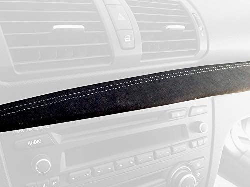 RedlineGoods dash pad cover compatible with BMW 1-series E82-E87 2004-13 Black Alcantara-Red thread