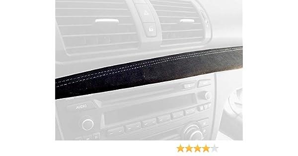 RedlineGoods Dash pad Cover Compatible with BMW 1-Series E82-E87 2004-13 Black Alcantara-Blue Thread
