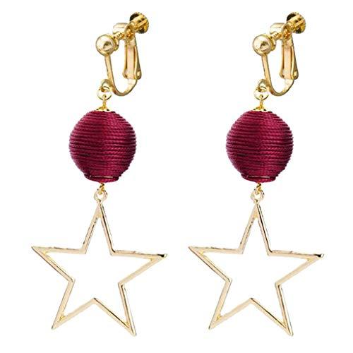 Women Girls Red Velvet Rope Thread Beaded Clip on Earrings Pentagram Star Flag Dangle Prom Jewelry