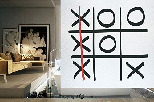 (Decorative Privacy Window Film/Popular Tic Tac Toe Game Pattern Hand Drawn Design Win Victory Finish Theme Decorative/No-Glue Self Static Cling for Home Bedroom Bathroom Kitchen Office Decor Black Whi )