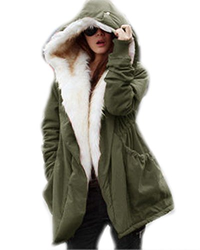[Roiii (TM) Women's Front Opening Long Sleeve Hooded Casual Winter Warm Party Coat Thicken Fleece Faux Fur Coat (Medium, Army Green)] (Button Front Hooded Coat)