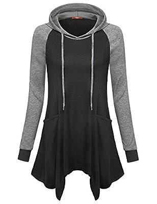 Gaharu Womens Raglan Long Sleeve Color Block Casual Tunic Hooded Sweatshirt With Pockets