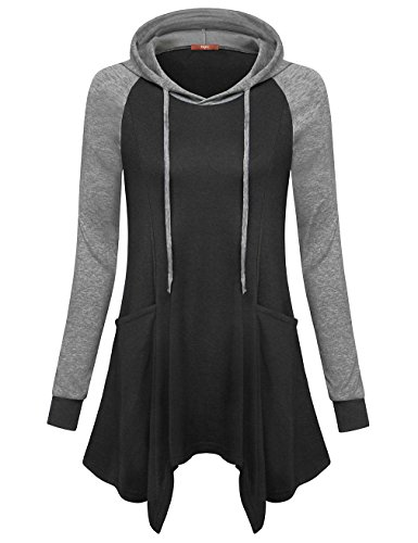 Gaharu Tunic Hoodie For Women, Cute Pocket Sweatshirt Raglan Sleeve Roomy Hi Low Hem Stretchy Dress Tops Carbon Black,XXL